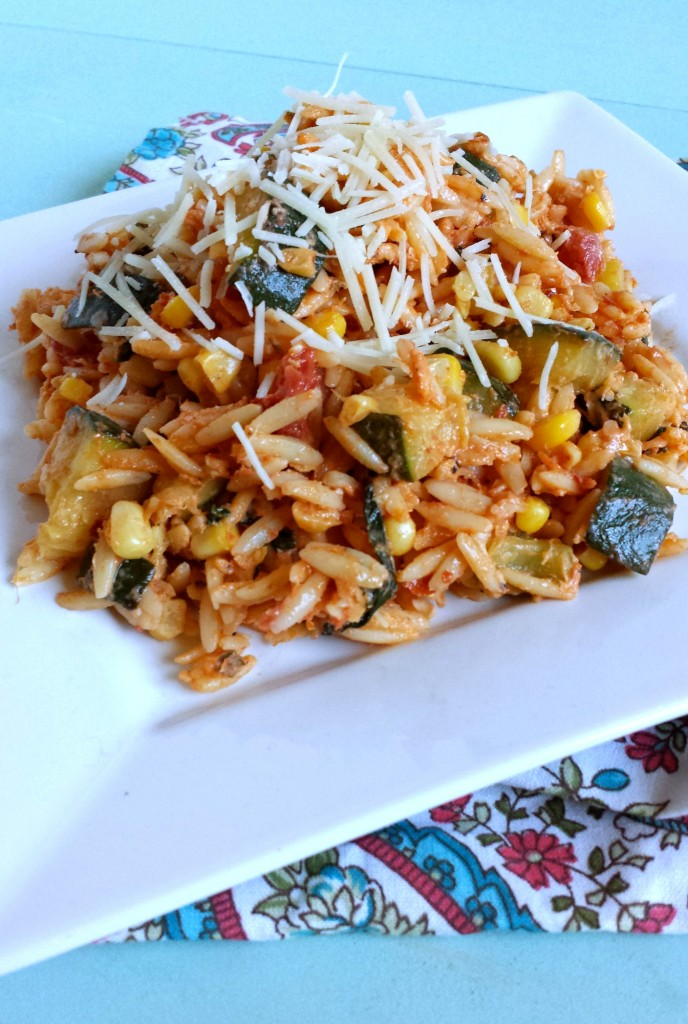 Spicy Orzo With Corn Zucchini And Goat Cheese
