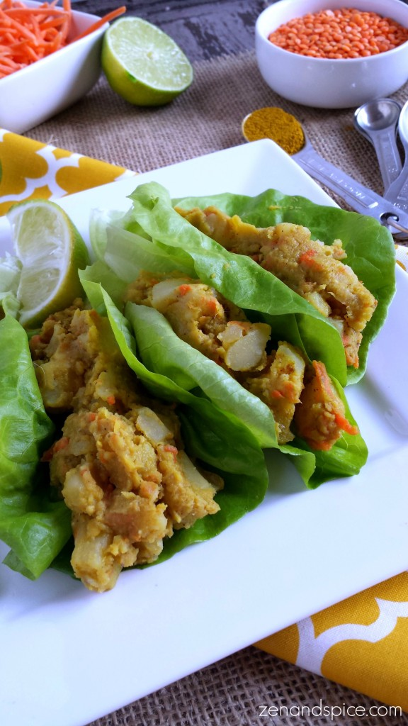 Curried Red Lentil and Potato Lettuce Wrap Recipe. Vegan, gluten free, and delicious!