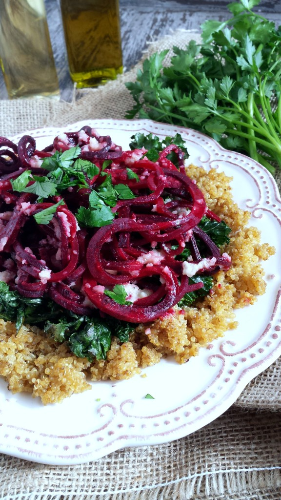 Roasted Beet Noodles with Kale & Quinoa 1