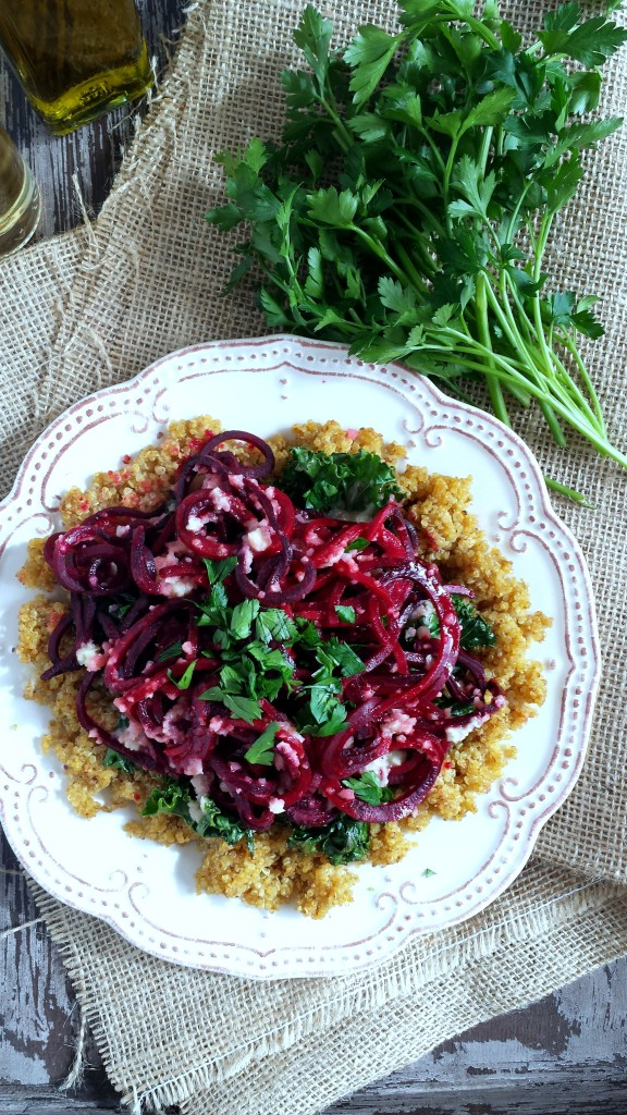 Roasted Beet Noodles with Kale & Quinoa 3