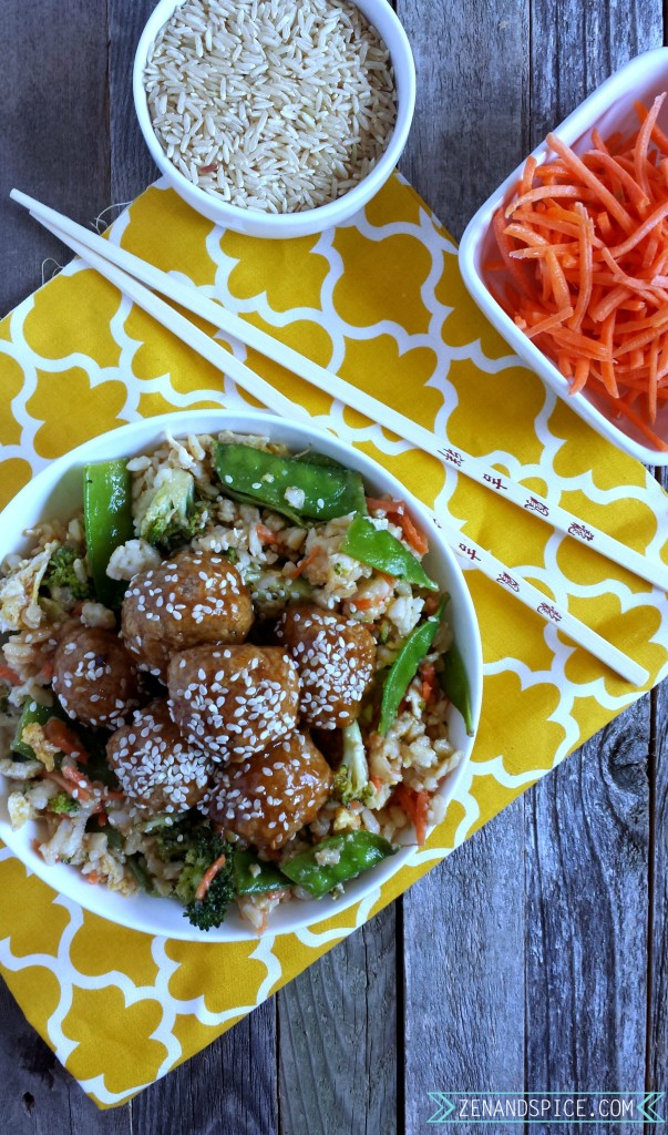 Spicy Asian Meatballs with Veggie Fried Rice 4