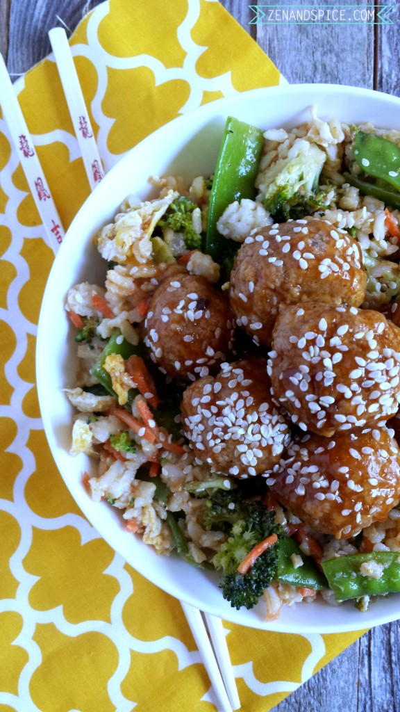 Spicy Asian Meatballs with Veggie Fried Rice 8