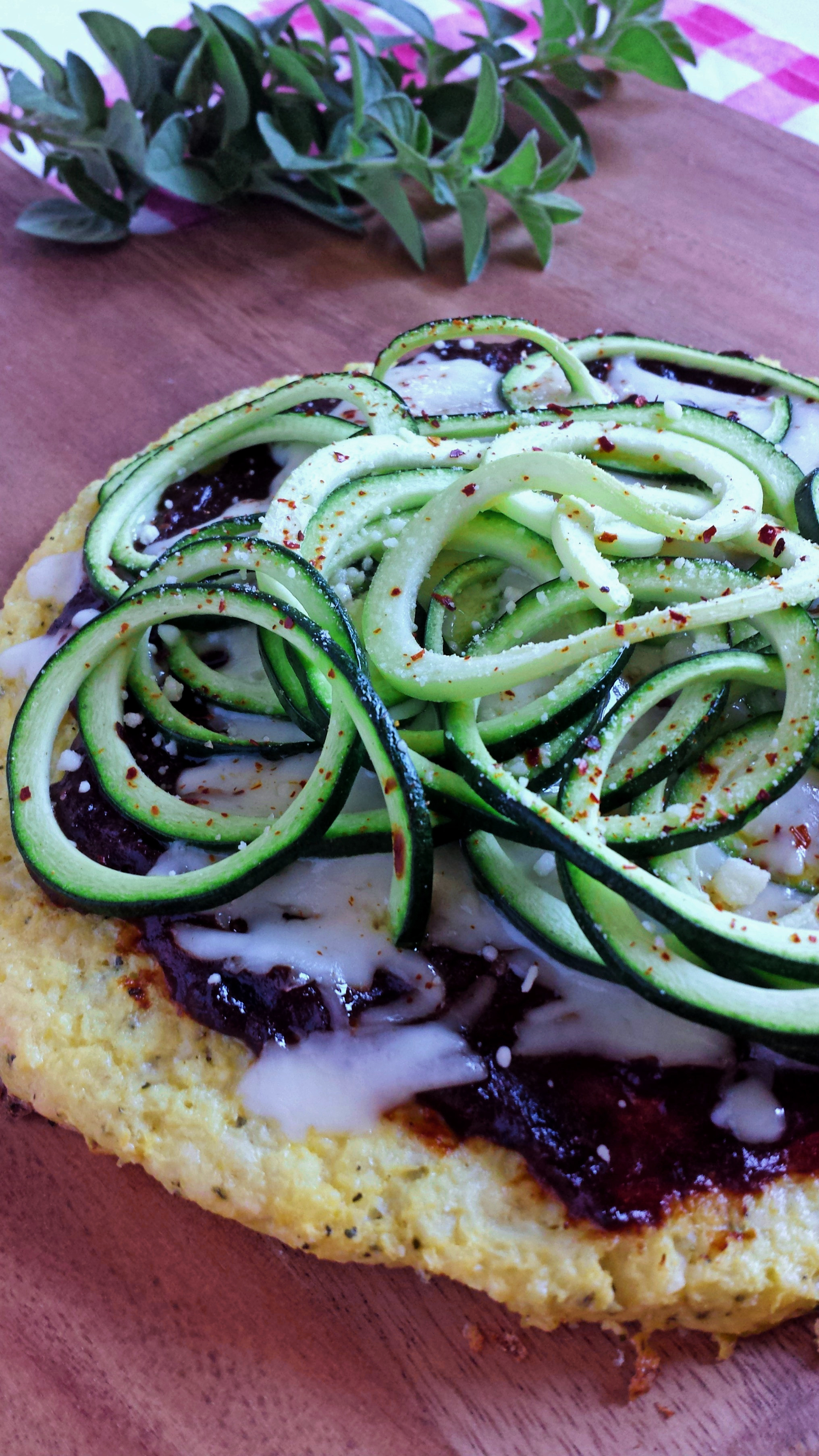 Plum BBQ Zoodle Pizza with Cauliflower Crust 3 polarr