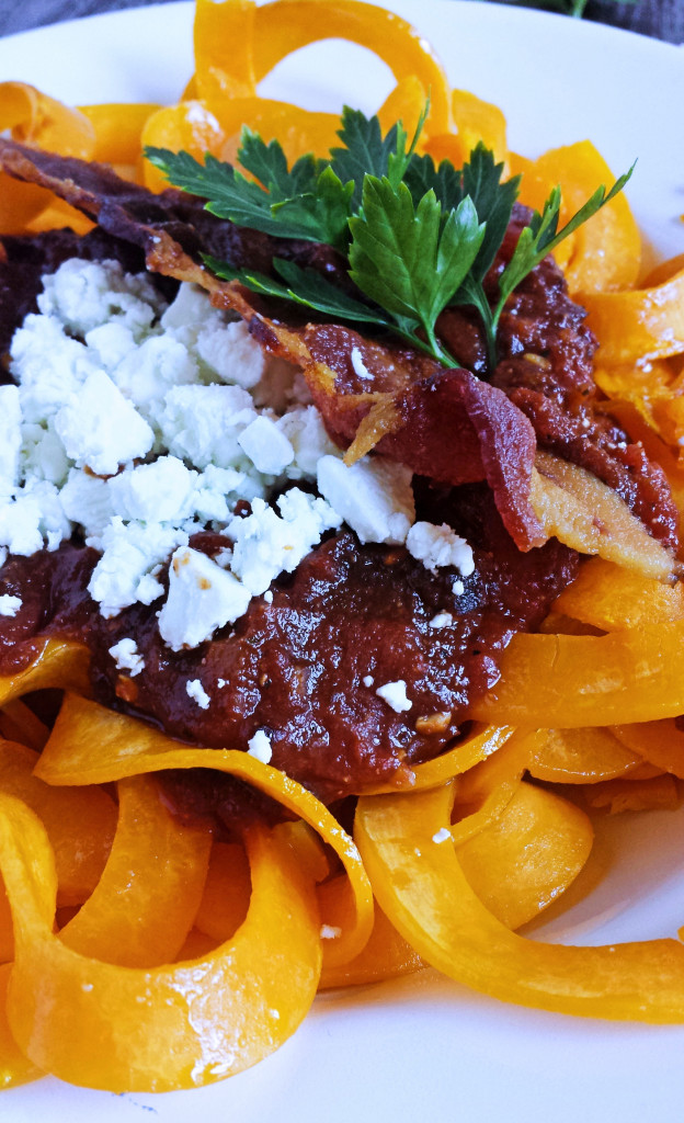 Spicy Plum Marinara with Roasted Butternut Squash, Goat Cheese & Bacon 3p