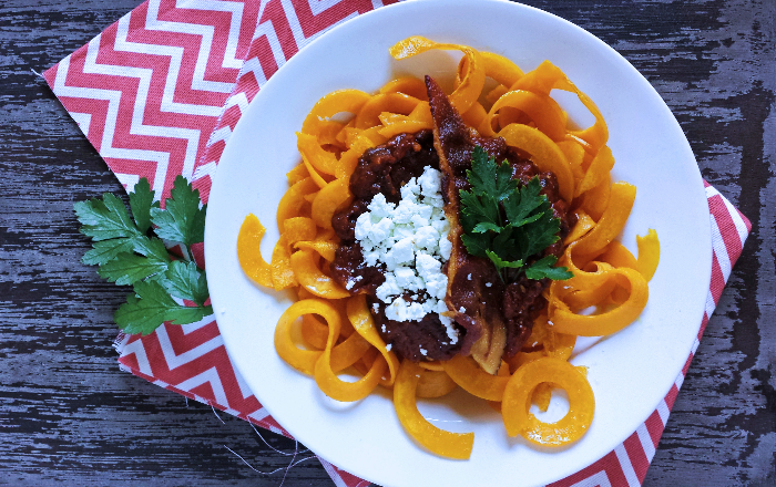 Spicy Plum Marinara with Roasted Butternut Squash, Goat Cheese & Bacon 6p