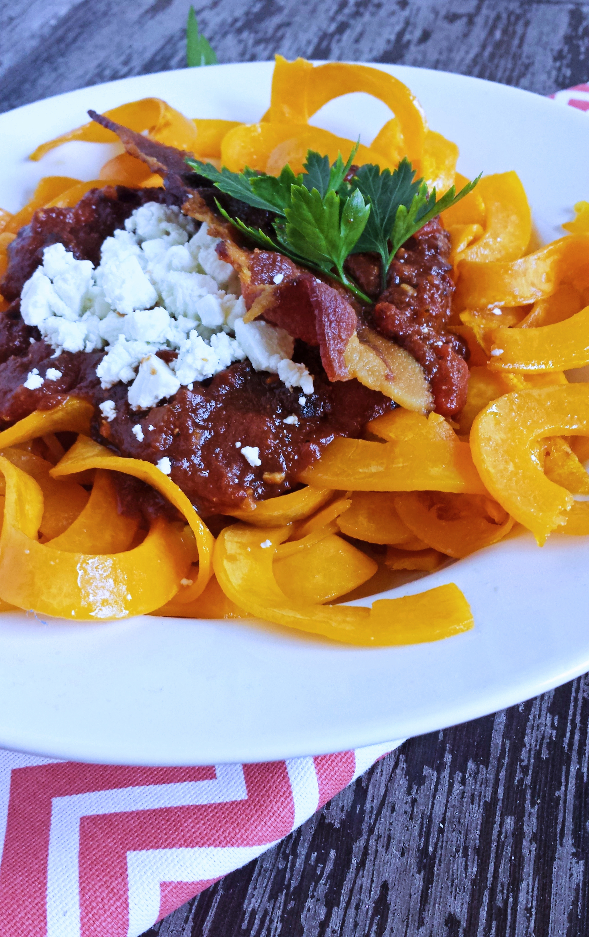 Spicy Plum Marinara with Roasted Butternut Squash, Goat Cheese & Bacon 7p