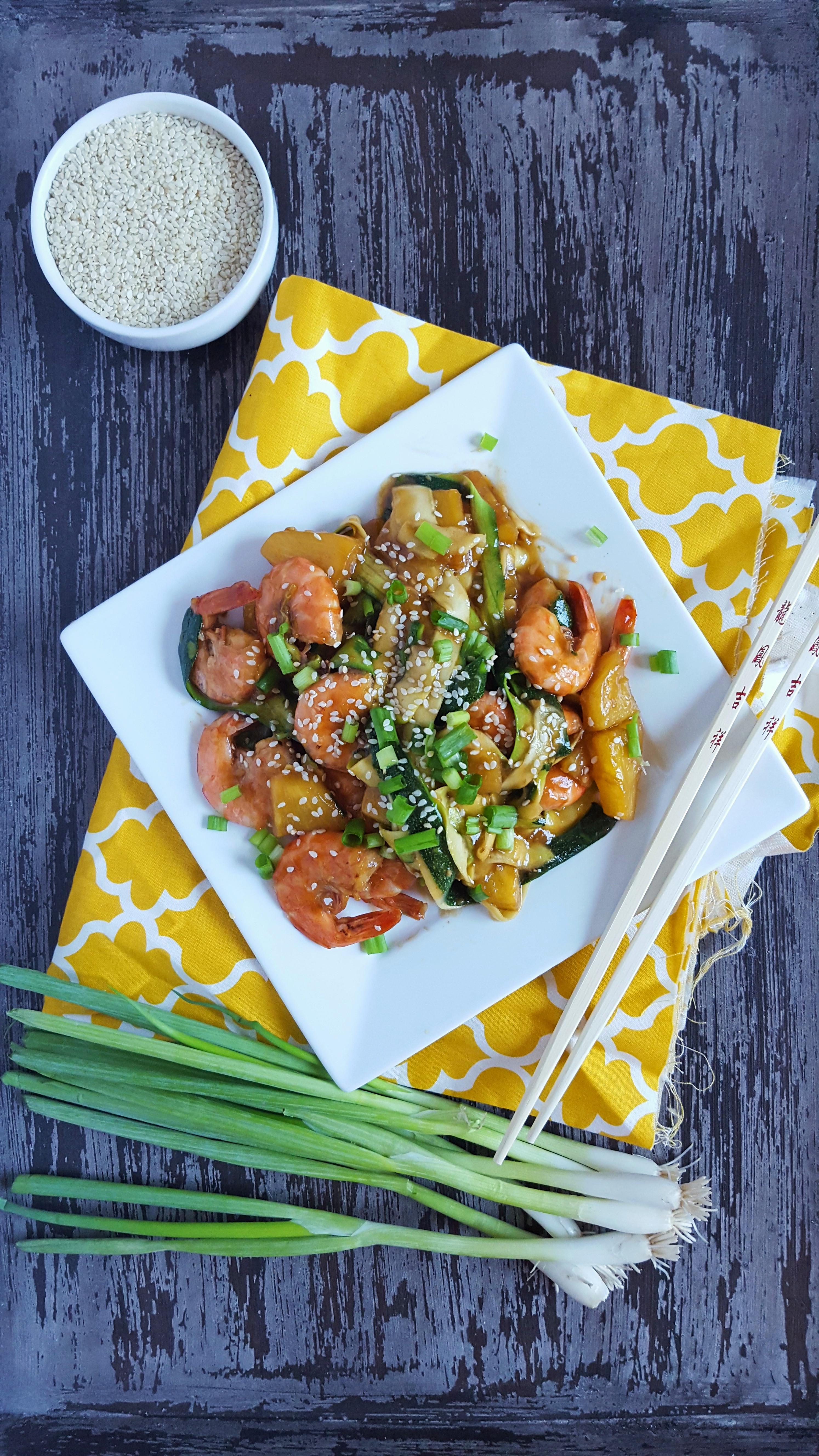 Teriyaki Pineapple Shrimp & Zucchini Ribbons | Zen & Spice