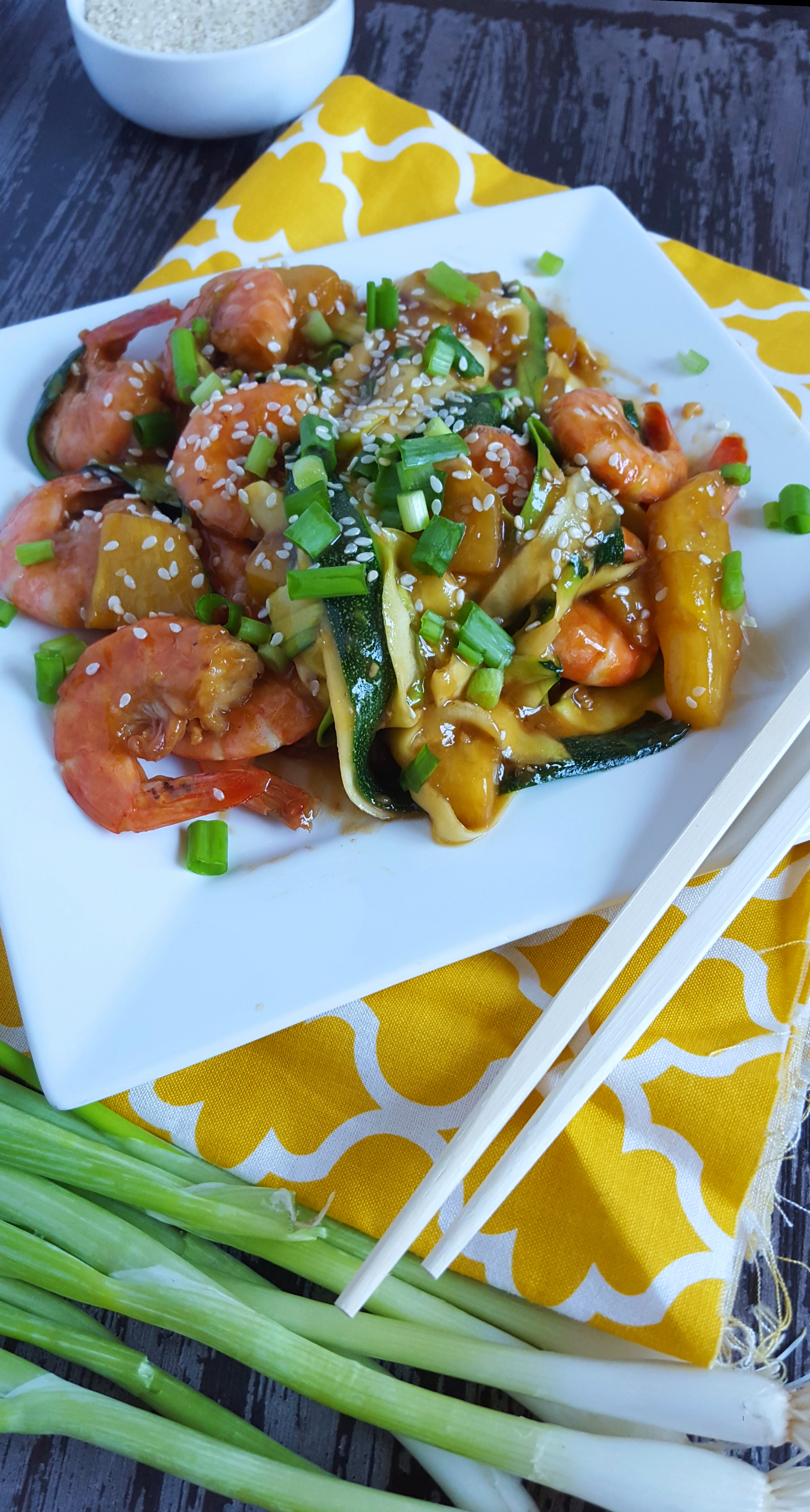 warm pineapple and juicy shrimp taste amazing with the spicy teriyaki ...