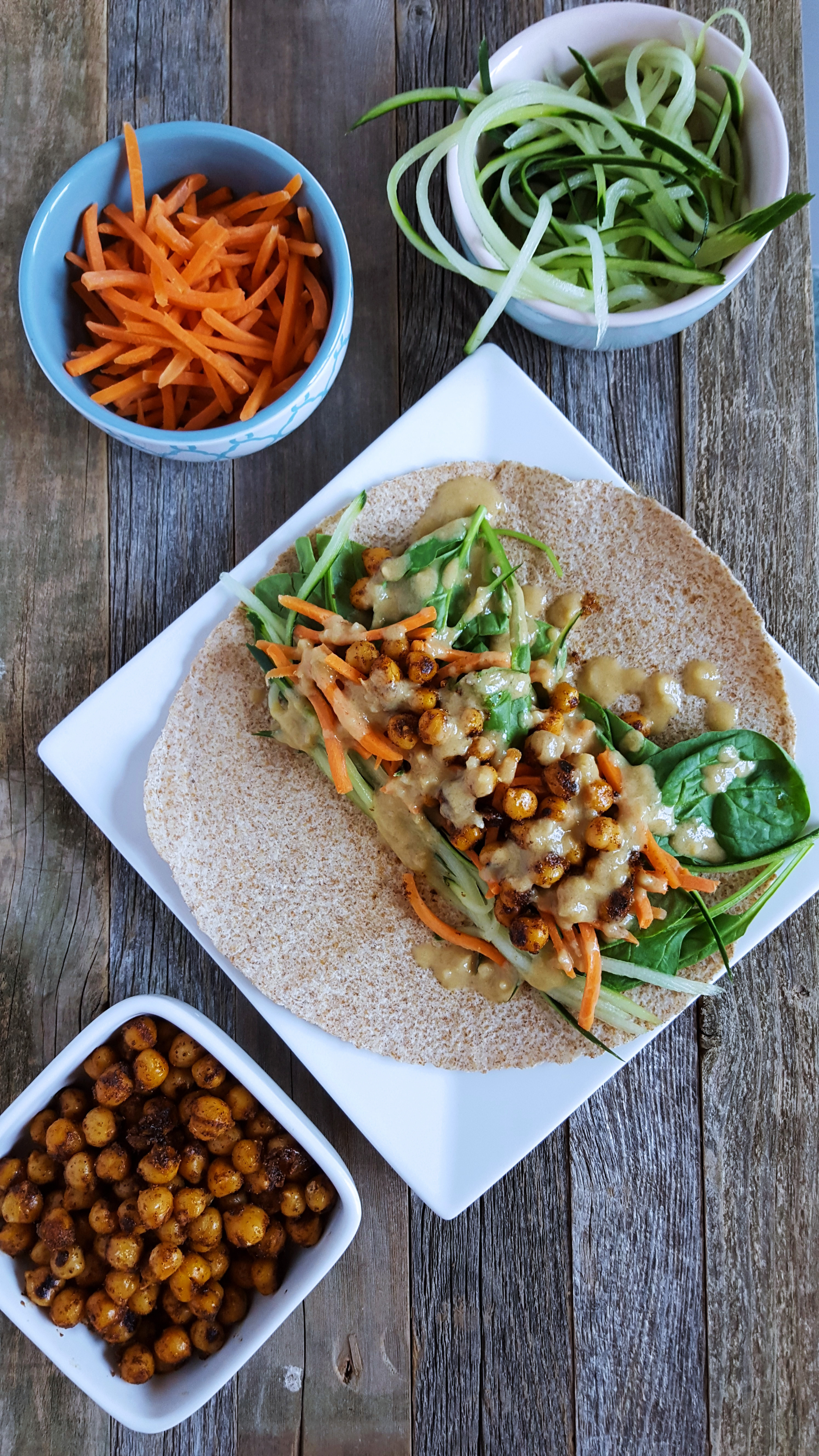 Spicy Roasted Chickpea Wraps With Lemon Tahini Dressing