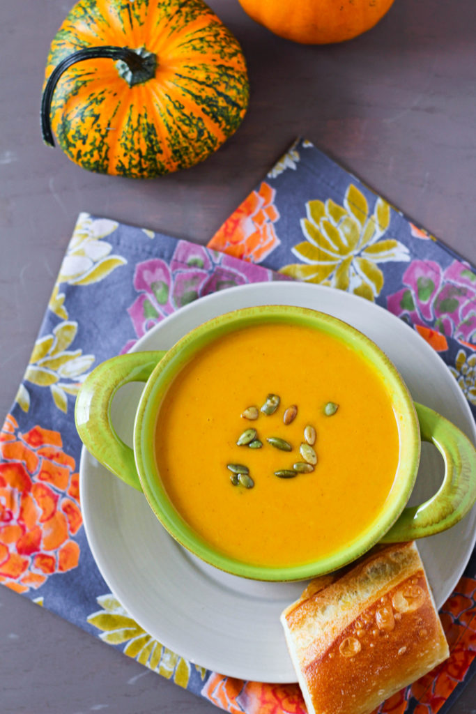 This Autumn Squash Soup is a copycat recipe of Panera's delicious Fall inspired soup. Made with pumpkin puree, lots of herbs and spices, and a creamy both, this Autumn Squash Soup is warming and filling.