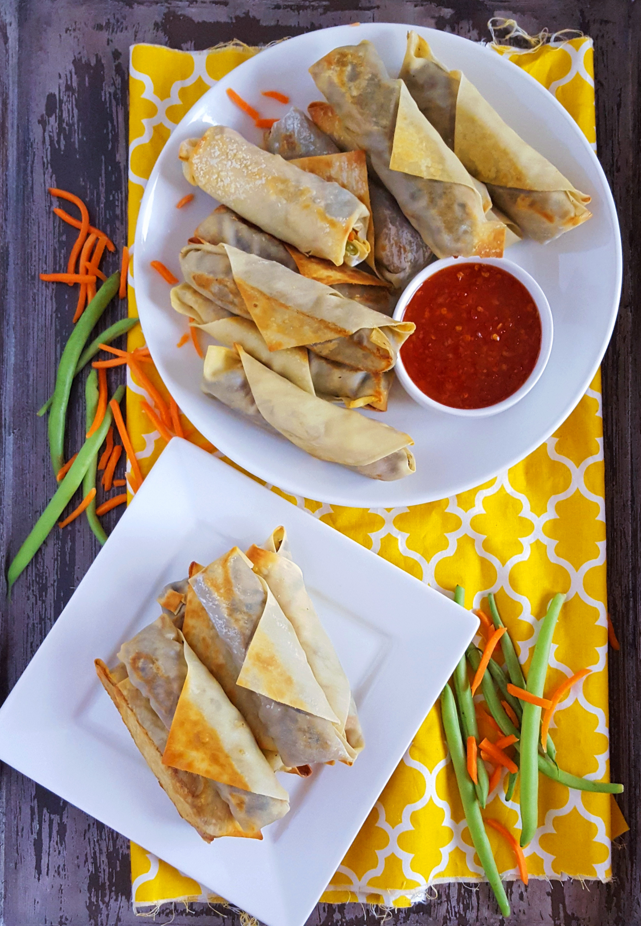 Baked Veggie Spring Rolls with Spicy Black Olive Tapenade