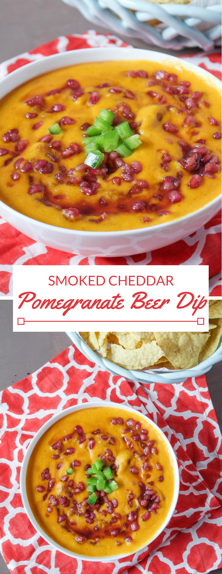 Smoked cheddar and pepper jack cheese is melted into your favorite beer and combined with fresh jalapeno and pomegranate seeds. Warm, sweet, smoky and savory dip for your favorite tortilla chips.