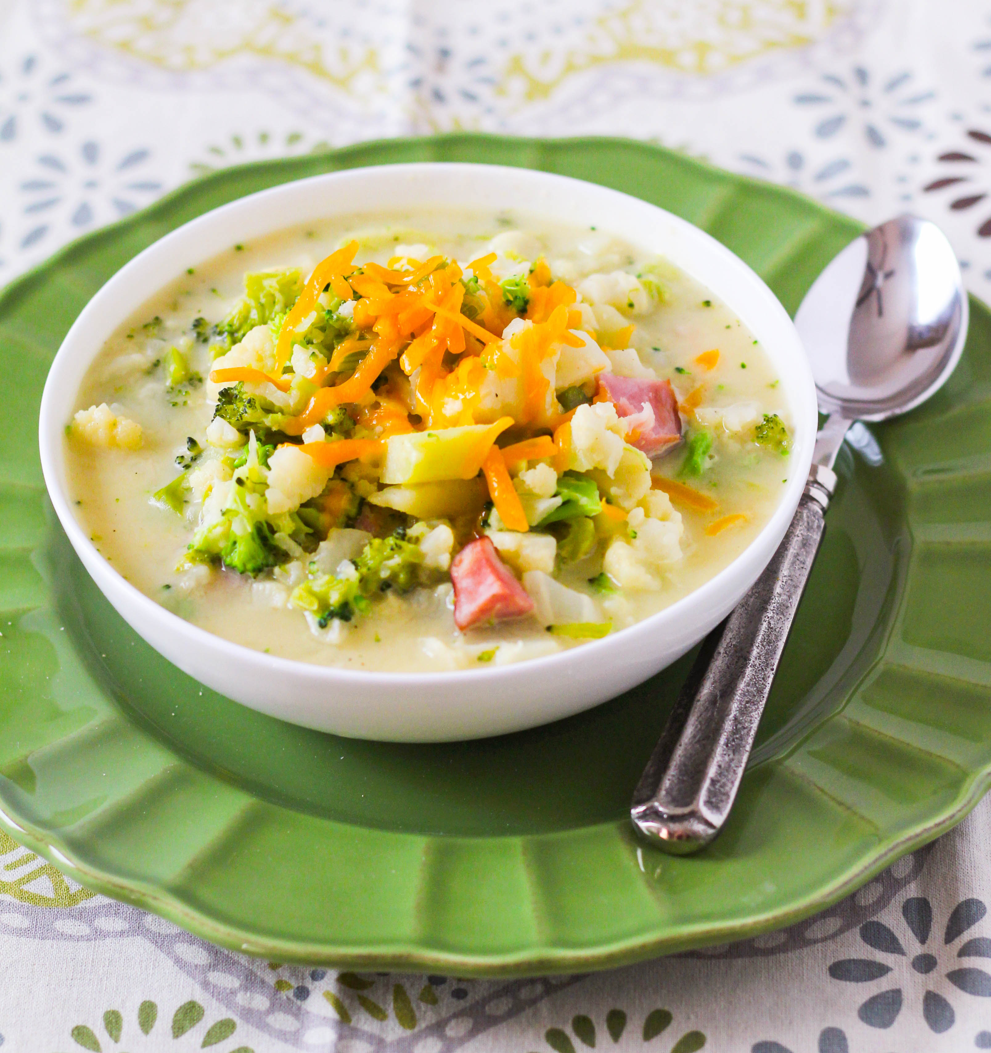 Chunky potato soup packed full of cauliflower, broccoli and ham. This Potato, Cauliflower and Ham soup whips up in 30 minutes or less-- including time it takes to wash and chop all of the vegetables. A warm bowl of comfort for chilly nights ahead.