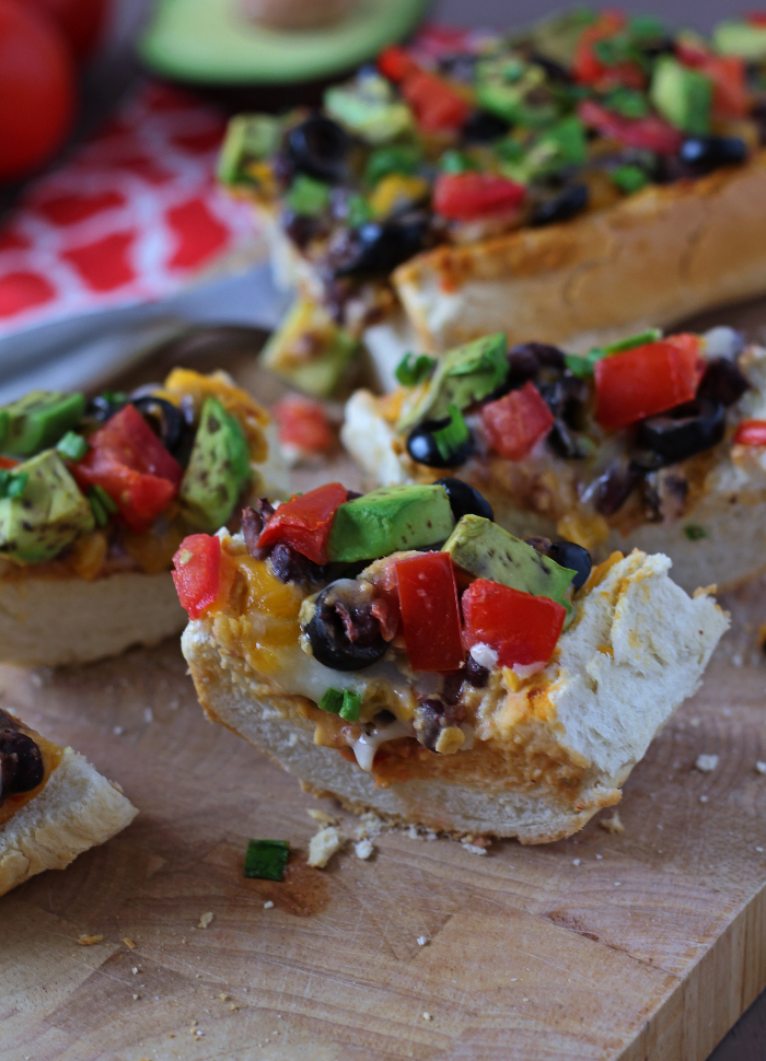 Spicy Black Bean Taco French Bread Pizza