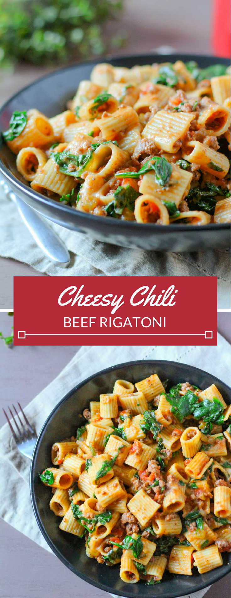 Cheesy Chili Beef Rigatoni is the perfect weeknight meal: warm pasta combined with beef, tomatoes, chilies, and fresh spinach, topped with Monterrey cheese. You just need two pots for this meal-- one to cook the pasta in and one to make everything else. Easy clean up!