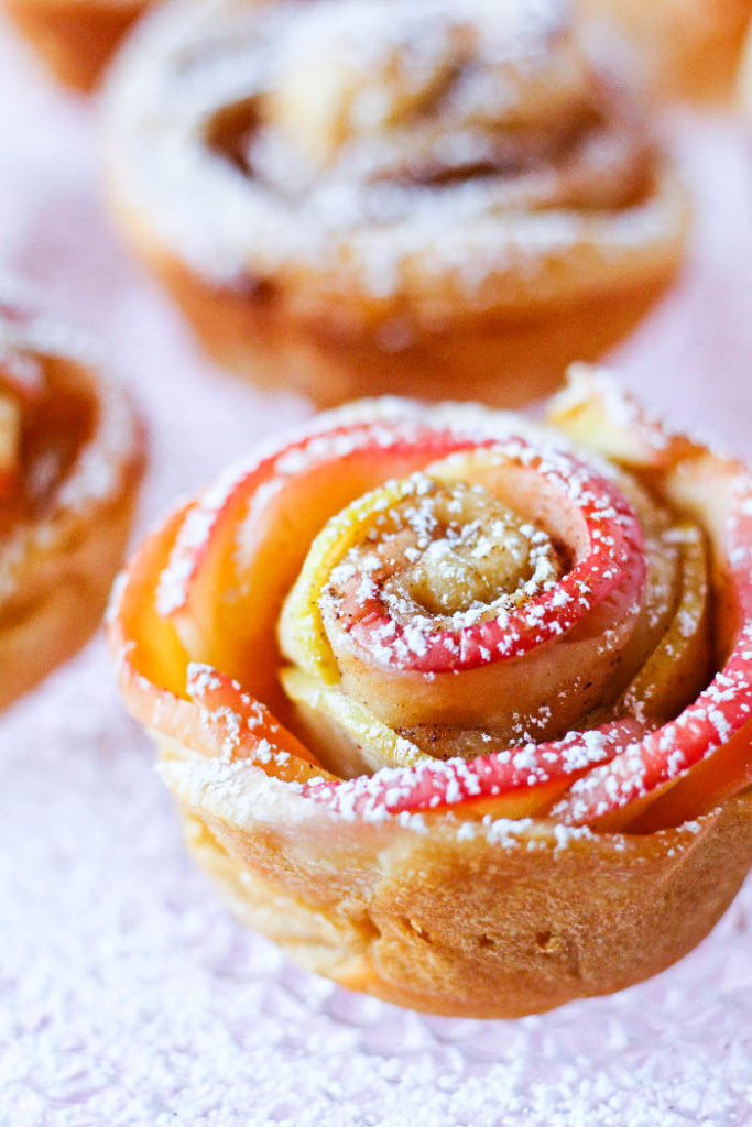 Soft Honeycrisp apple slices sprinkled with cinnamon and wrapped up in an apricot-preserve brushed croissant. These Honeycrisp apple roses are beautiful and impressive, yet very easy to make.