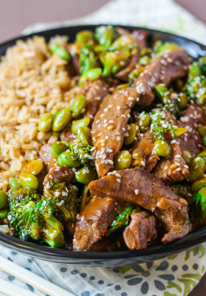 Make this easy beef and broccoli stir fry in less than 15 minutes! Way better than restaurant take-out and easier on the wallet. The addition of frozen, shelled edamame adds fiber, protein and heart-healthy fats!
