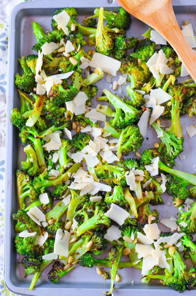 Roasted Broccoli with Parmesan and Pine Nuts: Easy Veggie Side
