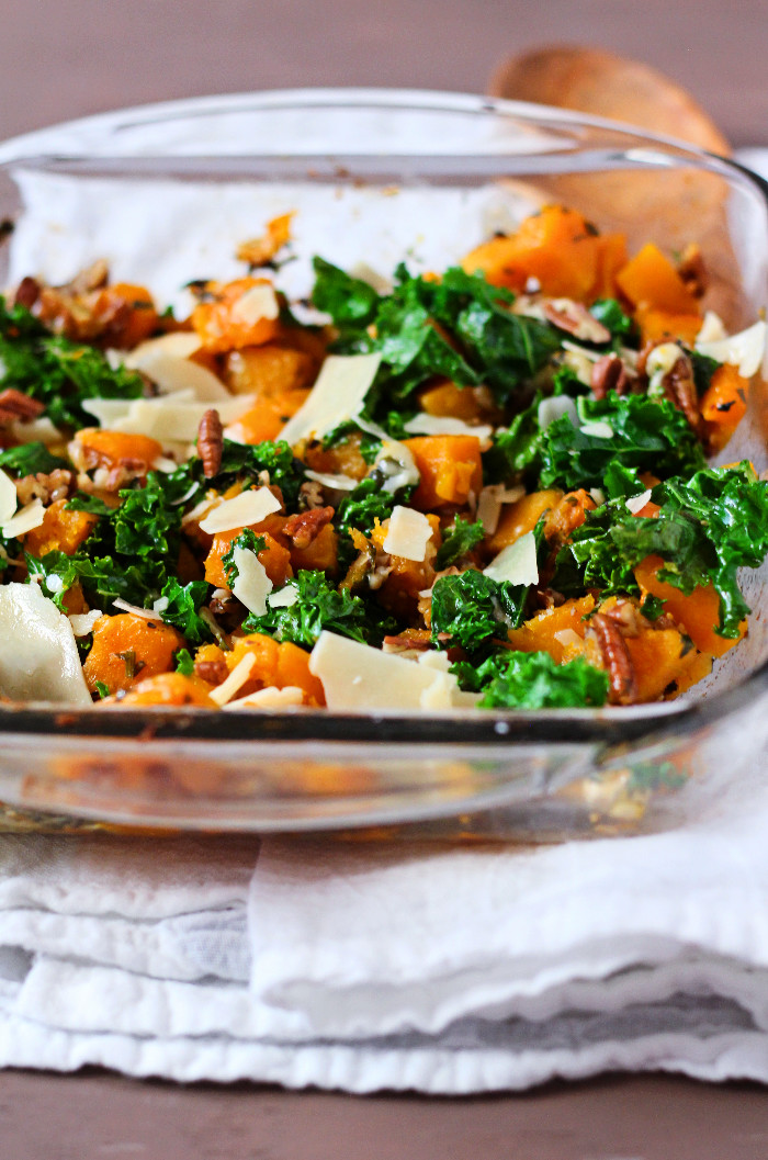 Roasted Butternut Squash with Kale, Pecans & Parmesan ...