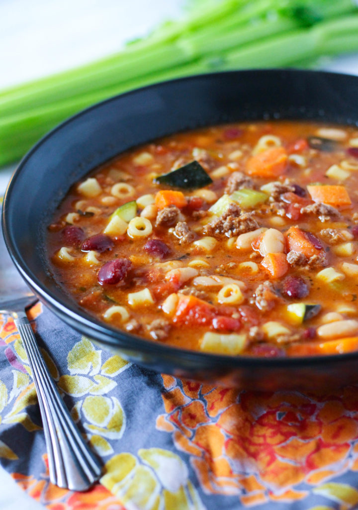 Pasta Fagioli Soup: Protein packed and full of veggies!