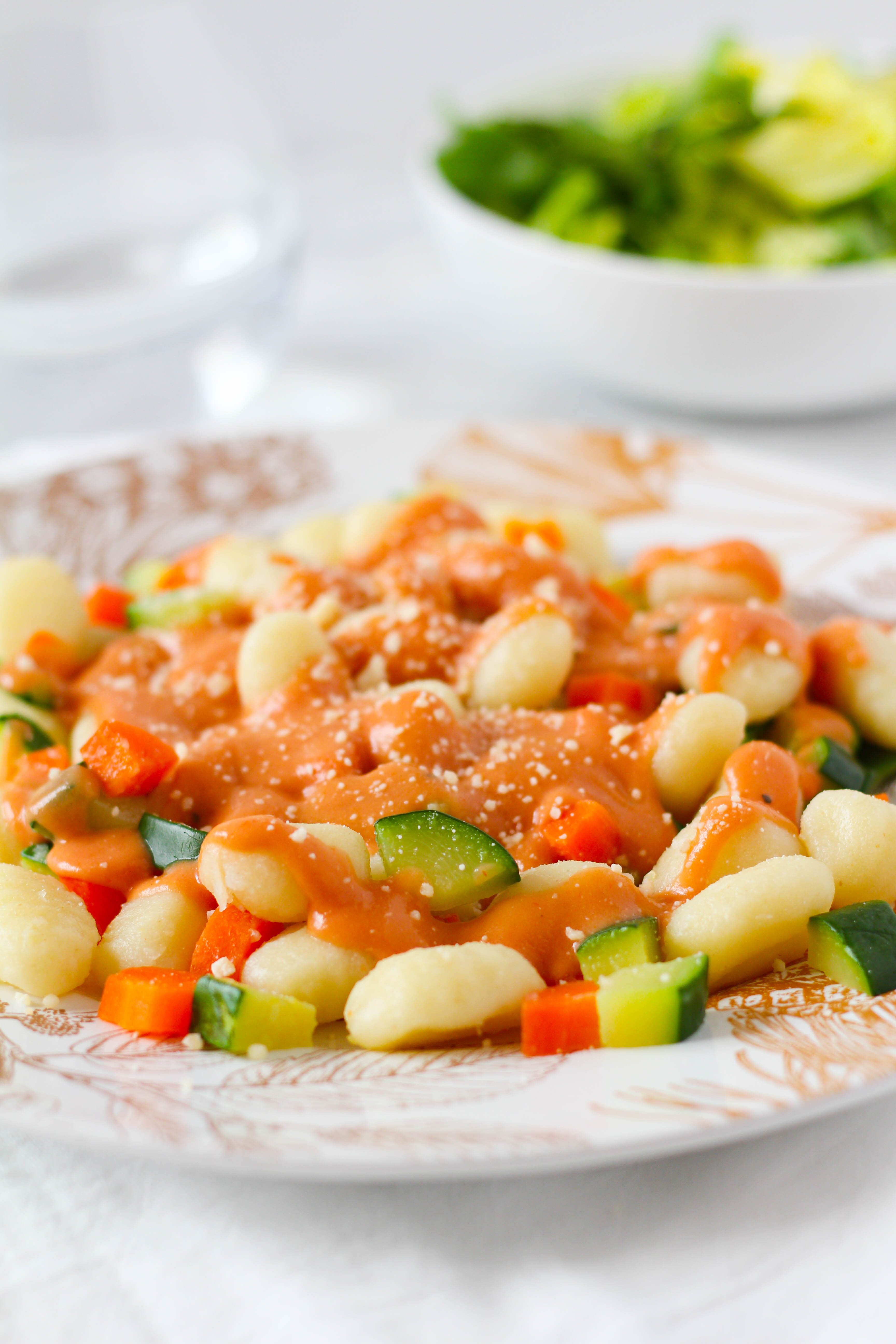 Tender gnocchi tossed with a French sauce made with bechamel, chicken stock and tomato puree with a deep, complex flavor. This Creamy Tomato Sauce tastes delicious with gnocchi and fresh vegetables!