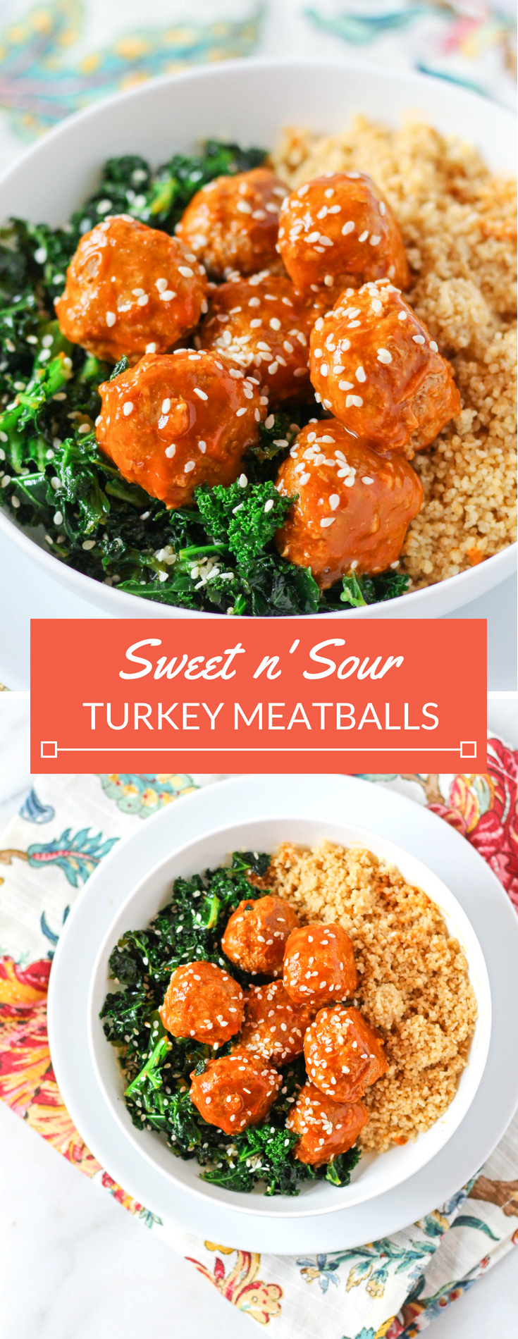 Sweet & Sour Turkey Meatballs with Sesame Kale and Couscous