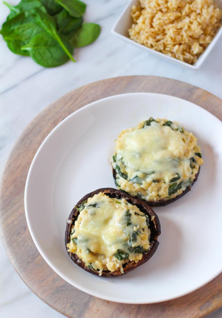 Creamy Spinach & Rice Stuffed Portobellos   Zen & Spice