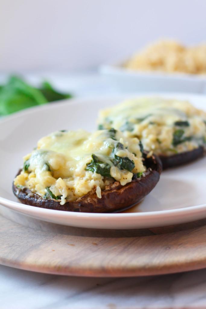Creamy Spinach & Rice Stuffed Portobellos | Zen & Spice