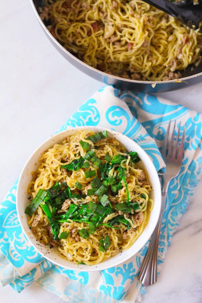 Triple Pork Mazemen with Roasted Garlic and Pea Tips-- Blue Apron | Zen & Spice