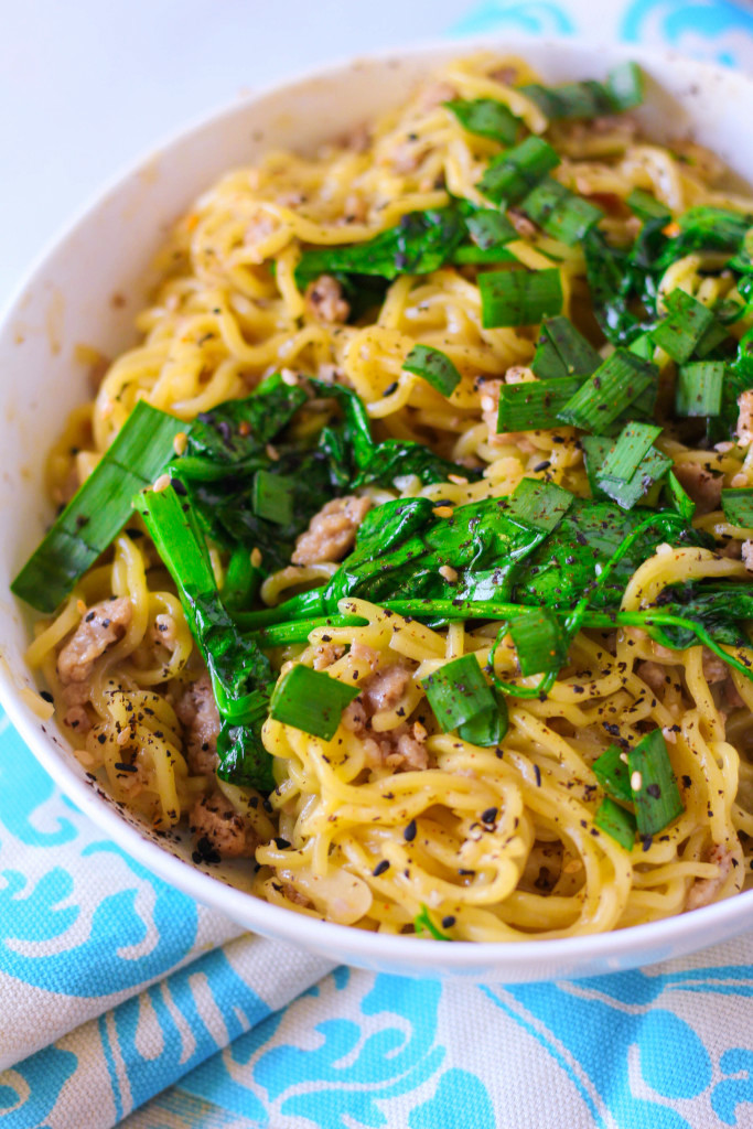 Triple Pork Mazemen with Roasted Garlic and Pea Tips -- Blue Apron | Zen & Spice