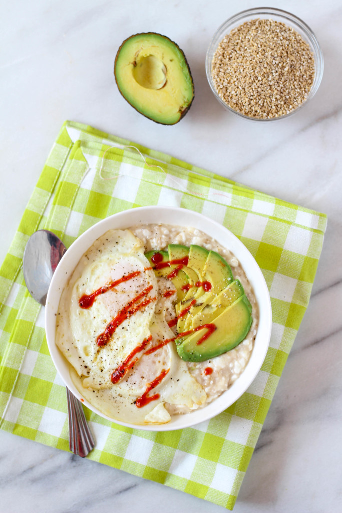Cheesy Savory Steel Cut Oatmeal with Avocado & Fried Eggs | Zen & Spice