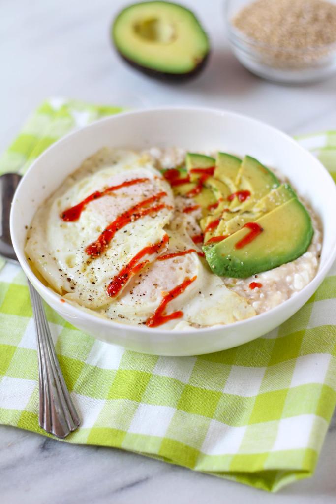 High Quality Cheesy Savory Steel Cut Oatmeal With Avocado U0026 Fried Eggs | Zen U0026 Spice