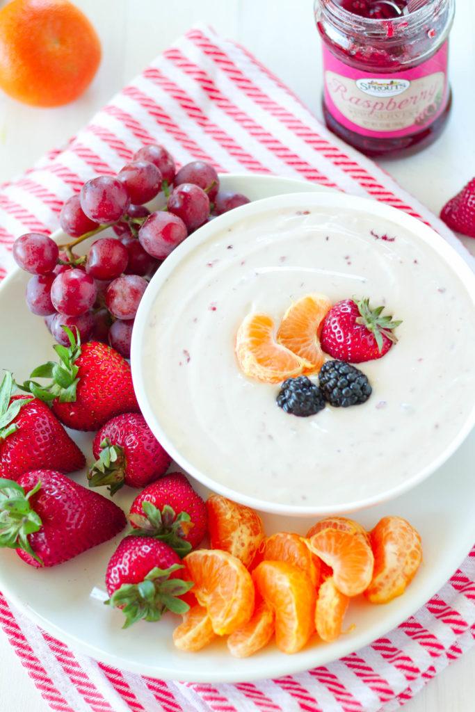 Raspberry & Cream Cheese Yogurt Dip | Zen & Spice