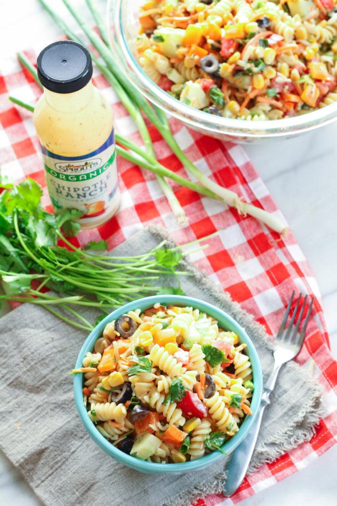 Chipotle Ranch Summer Pasta Salad | Zen & Spice
