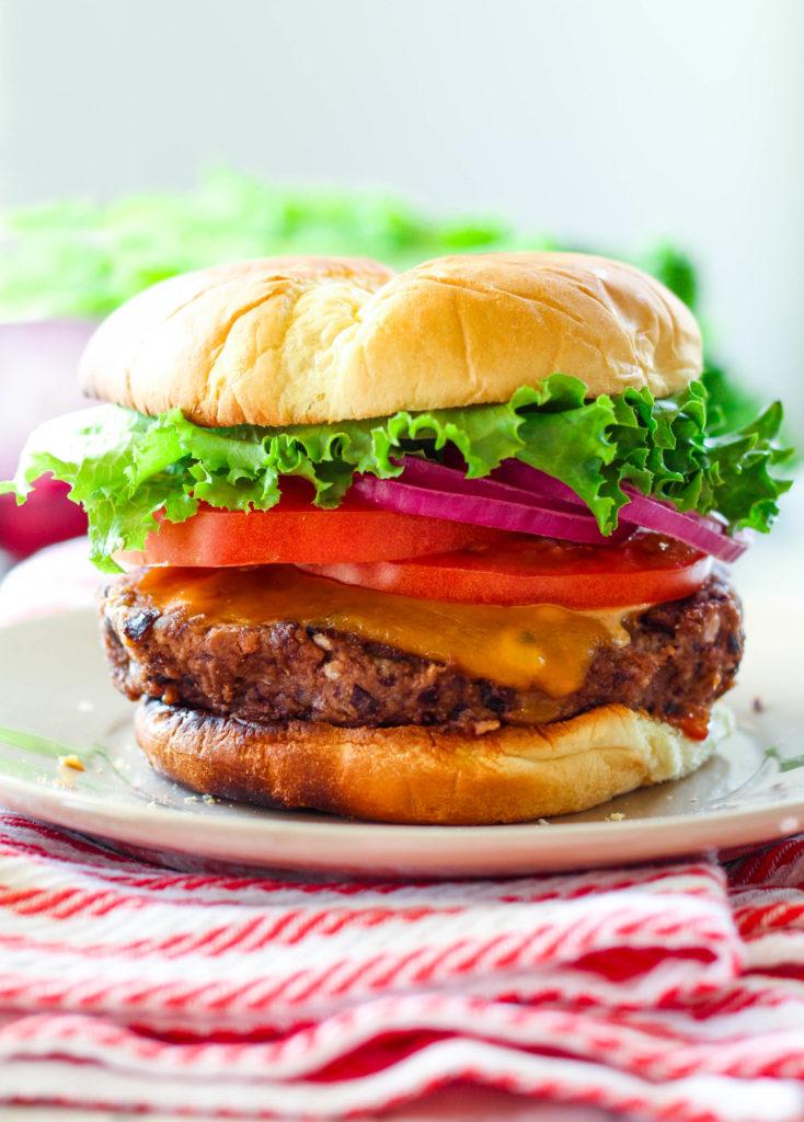 Cheddar Stuffed Black Bean Burger | Zen & Spice