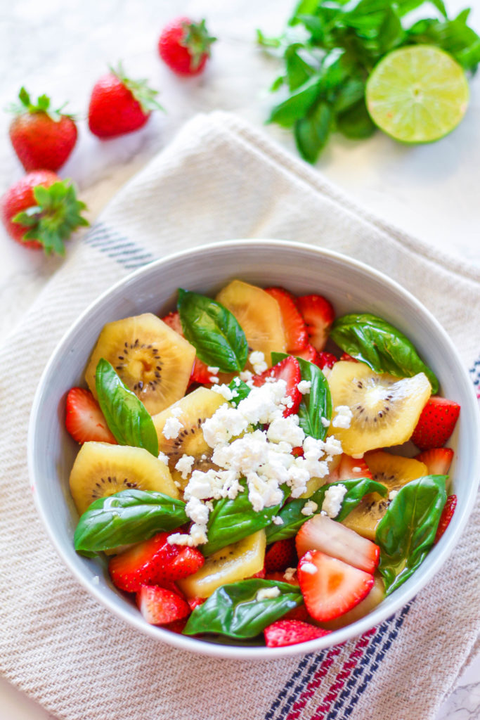 Strawberry Kiwi Basil Salad | Zen & Spice