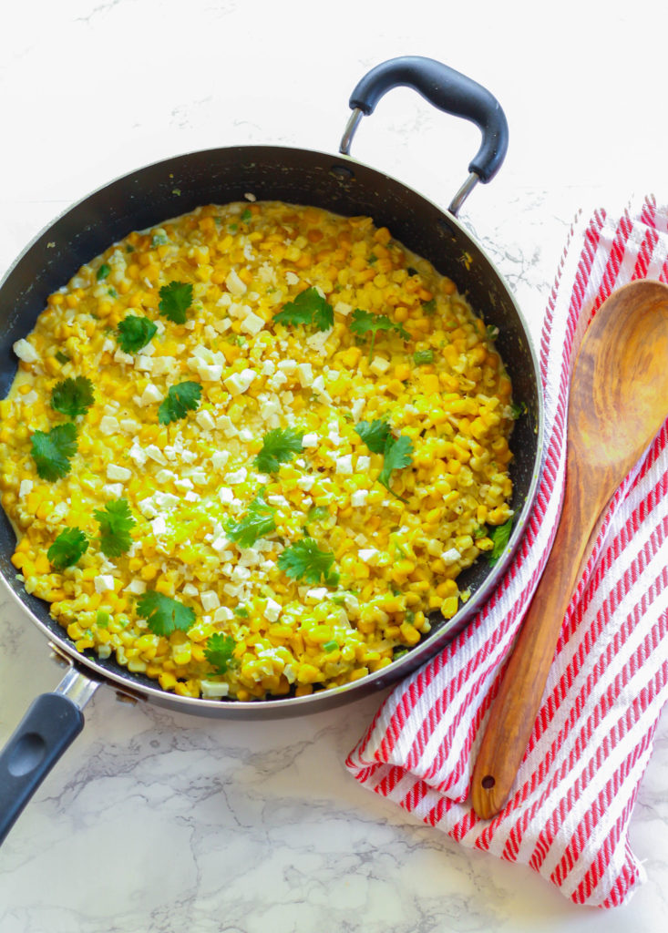 Spicy Creamed Corn with Cotija Cheese and Cilantro | Zen & Spice