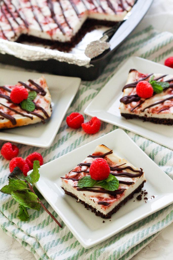 Raspberry Chocolate Cheesecake Bars | Zen & Spice