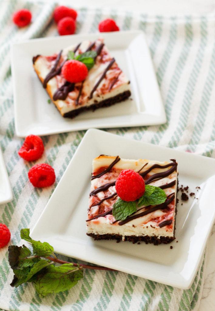 Raspberry Chocolate Cheesecake Bars   Zen & Spice