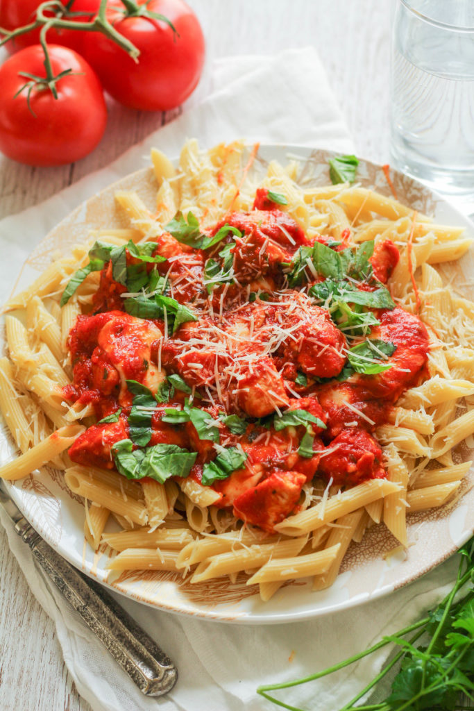 This delicious pasta makes a perfect weeknight meal -- tender penne pasta is covered in a mushroom marinara sauce with sauteed chicken breast and fresh, melty mozzarella!