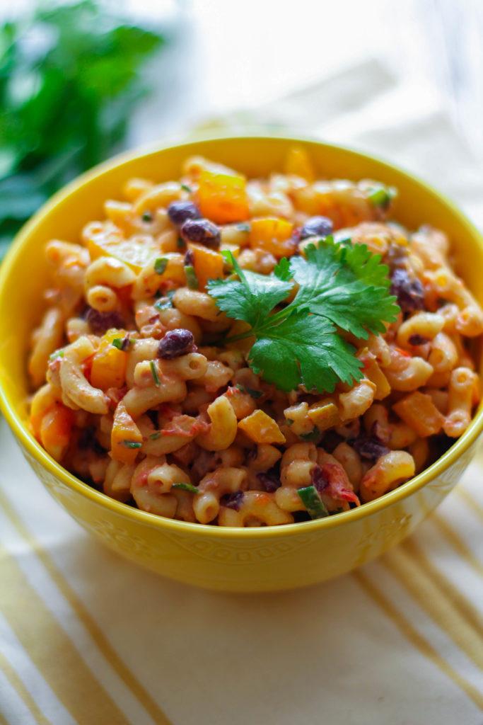 Southwest Pasta Salad   Salsa   Black Beans   Bell Pepper   Macaroni   Cilantro   Tailgating Recipe
