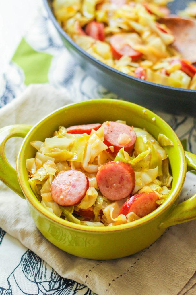 Cabbage & Turkey Kielbasa Skillet | Cabbage skillet | Kielbasa | Polish Sausage | Cabbage dish | Sausage Recipe | Cabbage Recipe | Lightened Up Dinner | Easy Recipe
