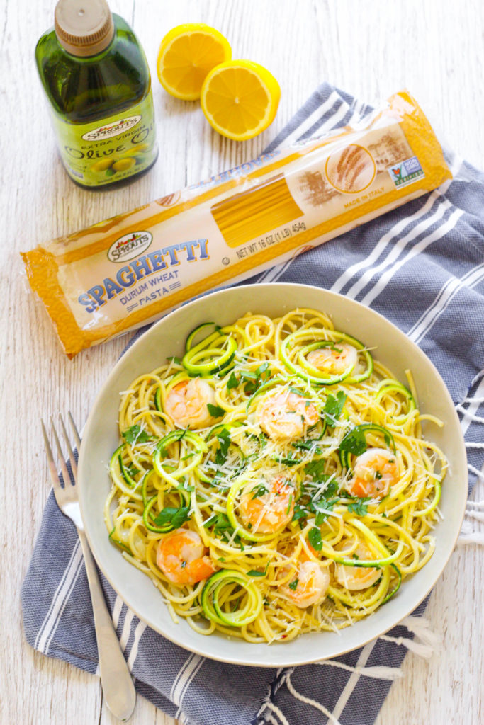 Shrimp Scampi with Zoodles | Zucchini Noodle Pasta | Lightened up scampi | Lighter pasta recipe