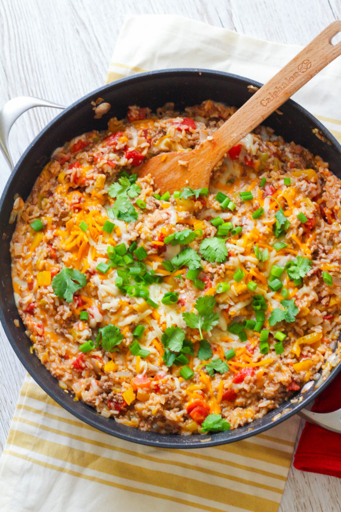 Cheesy Beef Rice Skillet | Mexican skillet recipe | Easy Weeknight recipe | Cinco de Mayo recipe