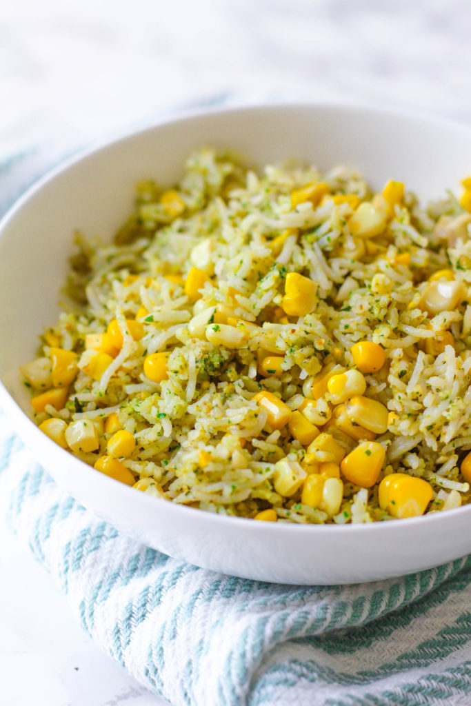 Basil Pesto & Roasted Corn Rice | Basil pesto | Roasted corn | Summer side dish | Healthy side dish