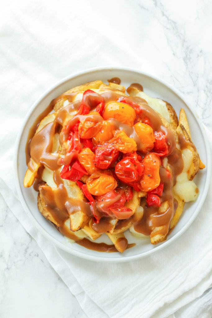 Burst Cherry Tomato & Roasted Red Pepper Loaded Poutine | Healthy poutine | Canadian poutine