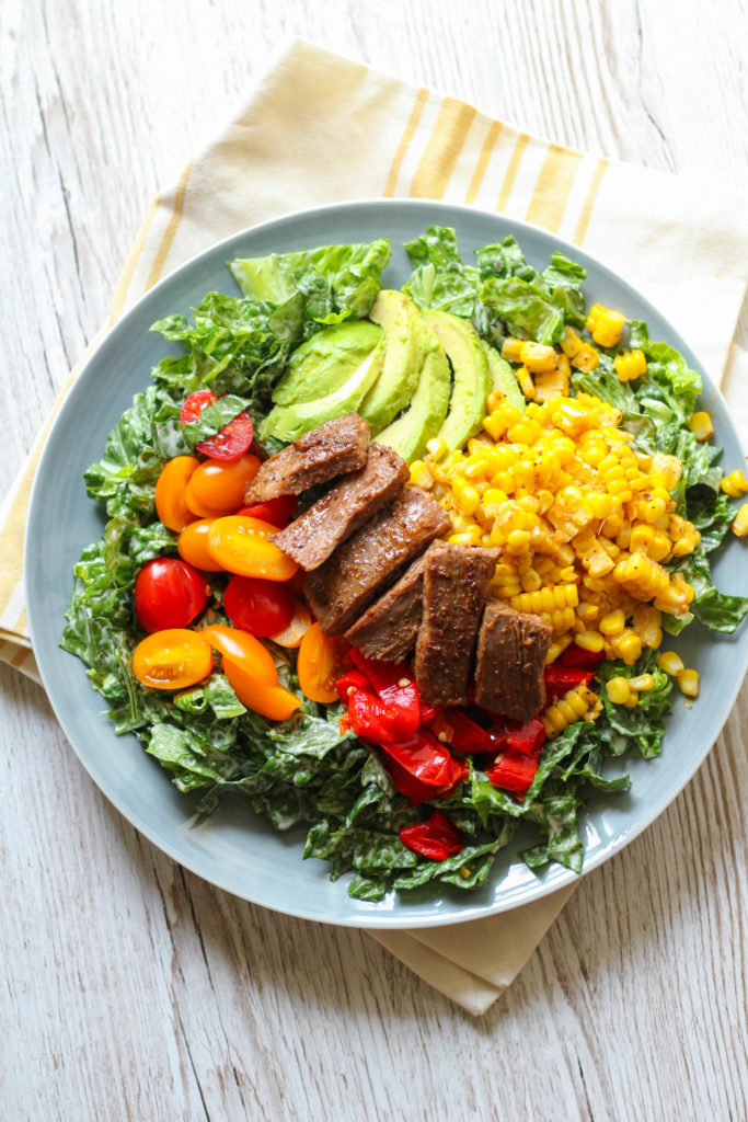 Flank Steak Salad with Roasted Corn and Peppers   Romaine salad   Avocado   Cherry tomatoes   Summer salad ideas   Healthy salad recipe
