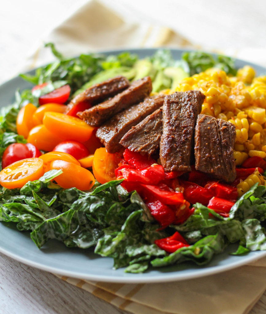 Flank Steak Salad with Roasted Corn and Peppers | Romaine salad | Avocado | Cherry tomatoes | Summer salad ideas | Healthy salad recipe
