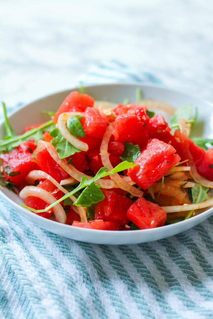 Watermelon Feta and Mint Salad | Watermelon salad | Salty watermelon salad | Summer fruit salad
