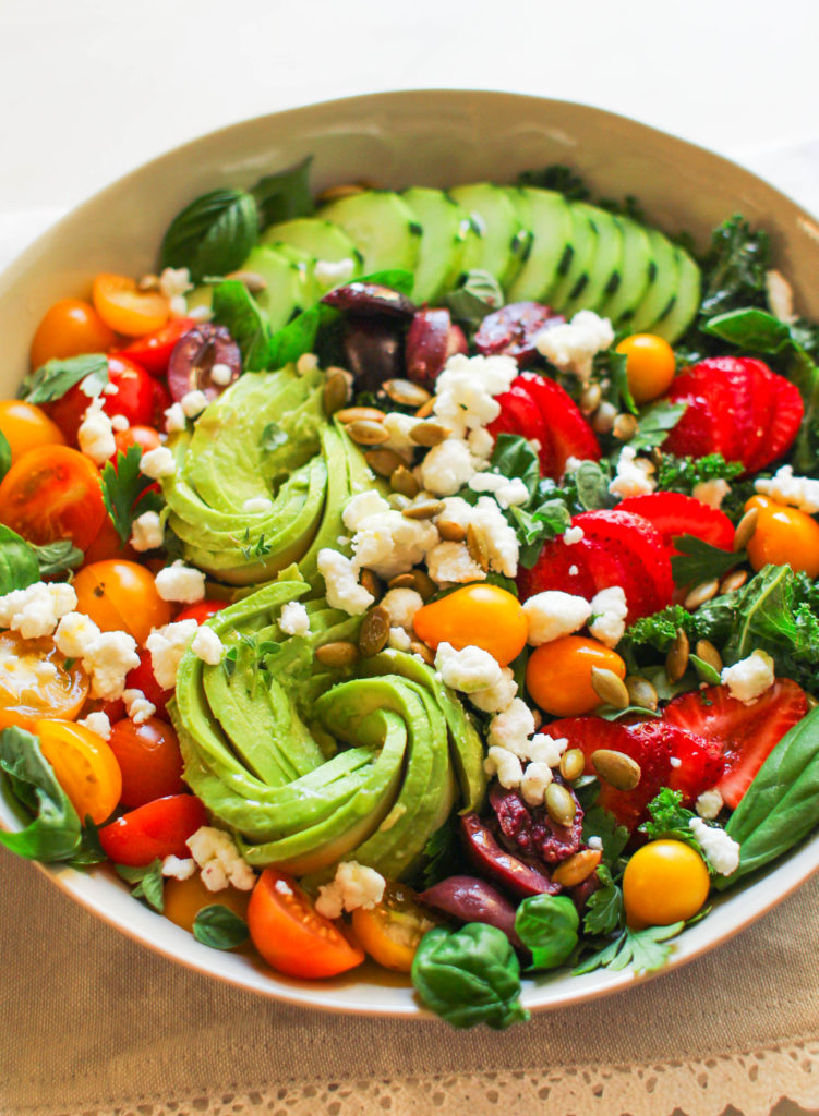 Garden Abundance Salad | Summer salads | Spring salads | Healthy salad | Salad Recipe | Avocado | Cherry Tomatoes | Kale | Basil | Thyme | Kale salad